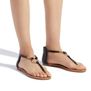 Black thong sandal with back zip closure